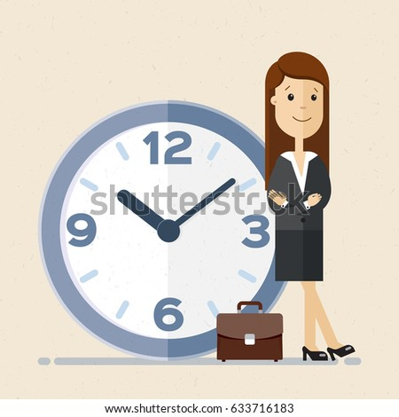 Business woman, manager or employee stand leaning to big clock. Concept of time management.  Vector, illustration, flat.