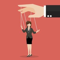 Business woman marionette on ropes. Business manipulate behind the scene concept