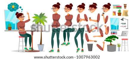 Business Woman Office Character Vector. Working Female. Casual Clothes. Start Up. Girl Developer. Animation Character Set. Lady Programmer, Designer. Emotions, Expressions. Cartoon Illustration