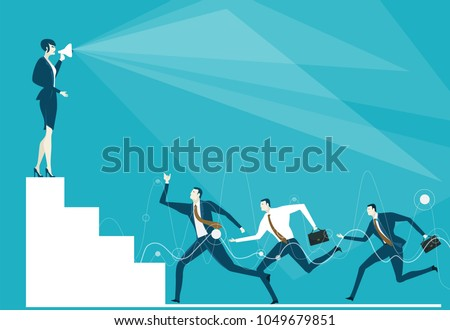 Business woman on top of the stairs giving the orders with loudhailer. Control, support and making decision concept illustration