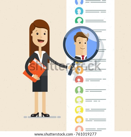 Business woman or HR manager  with magnifier in hand chooses a candidate online. Hiring, employee selection. Concept of Recruitmen. Vector, illustration, flat