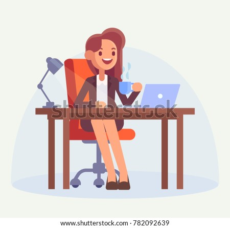 Business woman or office clerk working at her  desk. Woman working with computer and drinking coffee. Flat style, vector illustration.
