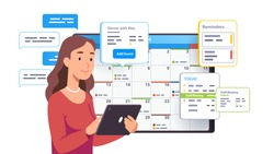 Business woman planning day scheduling appointment in calendar application. Person sending messages, checking, adding event, meeting reminders in tablet planning app Flat vector character illustration