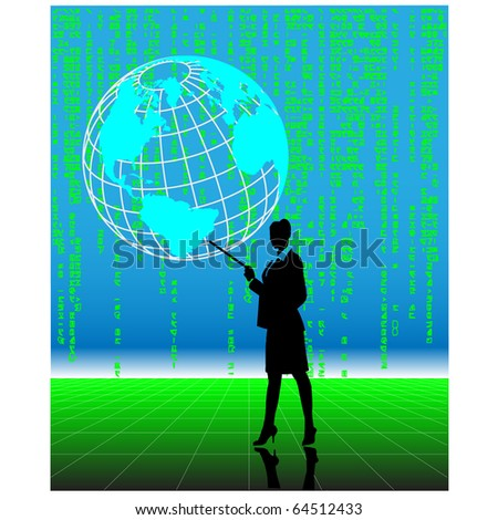 Business woman pointing at globe.Vector