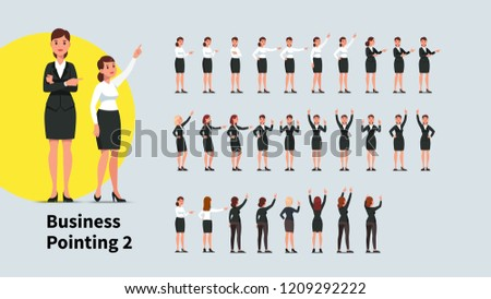 Business woman pointing index finger in different directions set. Front and back views of gesturing person. Businesswoman standing, pointing aside, up with one and both hands. Flat vector illustration