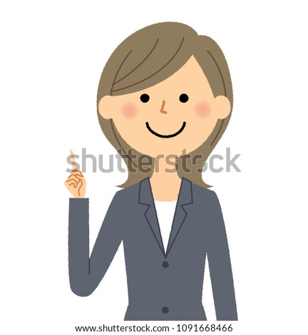 Business woman pointing to fingers
