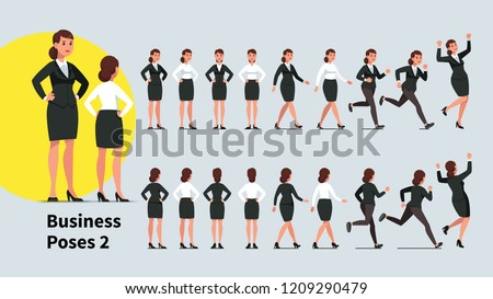 Business woman poses and actions set. Front & back views collection of office business person. Businesswoman standing, walking, running, jumping celebrating success, sitting. Flat vector illustration