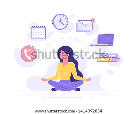 Business woman practicing mindfulness meditation with office icons on the background. Multitasking and time management concept. Vector illustration.
