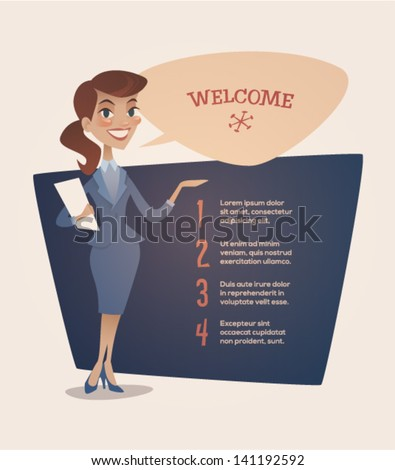 Business woman presentation. Retro style vector illustration