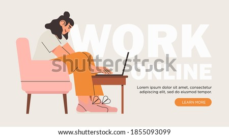 Business woman, programmer, creative outsource employee sit on chair and work on laptop. Freelancer working remotely at home or at coworking place using computer. Creative banner for freelance job ad.