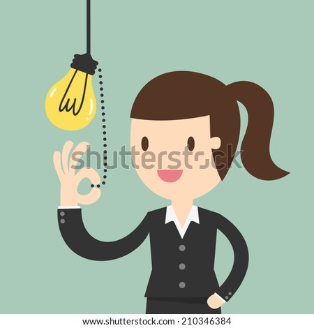 Business woman pulling light switch Idea concept