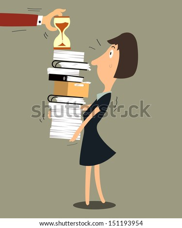 Business woman required working hard and need to finish in time. - stock vector