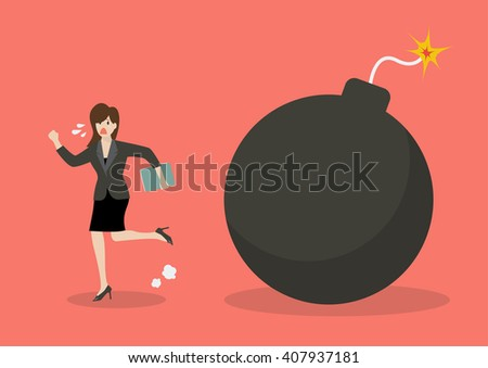 business woman run away from
