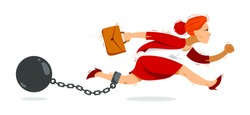 Business woman run with a shackles and weight on her leg symbolizes problems such as debt crisis or taxes vector illustration, funny comic cute cartoon businesswoman worker or employee in a rush.