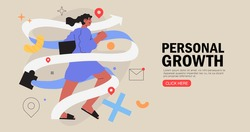 Business woman running on arrow through obstacles to her goal. Business developement, career success or growth and opportunity, startup concept banner, landing web page. Creative trendy character.