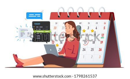 Business woman scheduling appointments on laptop in calendar application. Person texting messages, checking meeting & event reminders in planning app near big desk calendar. Flat vector illustration