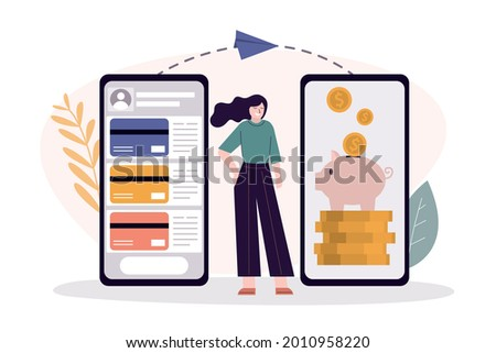 Business woman send and save money. Money transfer on savings card. Application for transactions on phone screen. Payment mobile app. Concept of online transfer and banking. Flat vector illustration