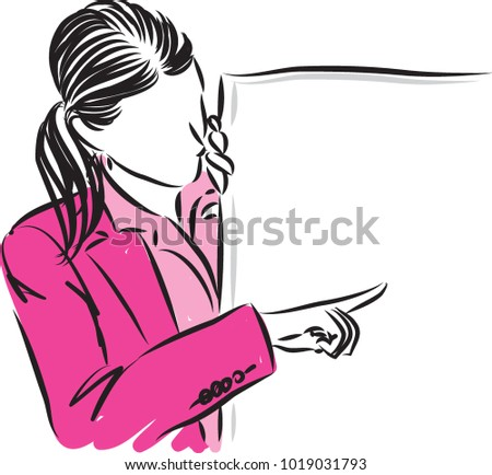 business woman showing vector illustration