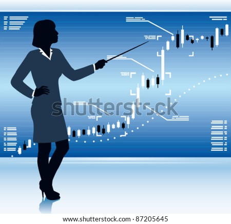 Business woman shows stock market chart