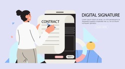 Business woman signing up smart or electronic contract with digital signature on smartphone. Data protection and privacy policy banner, flyer, landing page. Settle contract or make deal online.