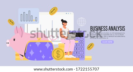 Business woman sit on a pile of coins near piggy bank and calculator and work on a laptop. Concept of business analyst, financial economic strategy to avoid crises, ways of company business recovery.