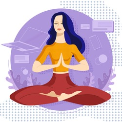 Business woman sitting in lotus pose at the work at home. Meditation concept. Concentration girl no stress free at work concept. Business woman relaxes at work. Stress free work at home.