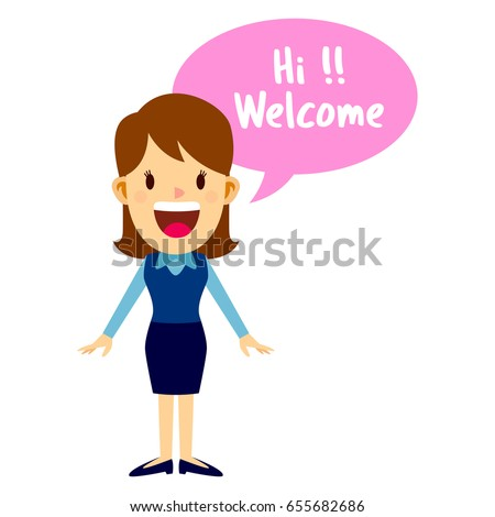 Business woman standing and greeting with a smile, saying welcome with speech bubble