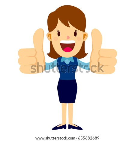 Business woman standing and smiling while doing two big thumbs up hand sign