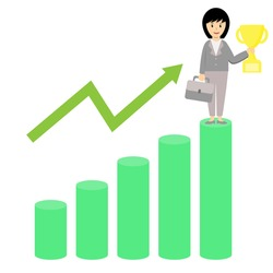 Business woman standing in highest bar chart holding trophy as she got from her effort of  increase growth or income.