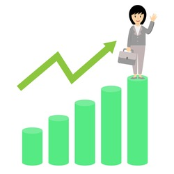 Business woman standing in highest bar chart waving her hand. Business girl and Growth of income or profit bar chart of company cartoon vector