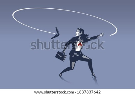 Business Woman Surprised as Boomerang He Throws Goes back to Him from Behind . Business Illustration Concept of Consequences and Karma behind Every Step We Make Zdjęcia stock ©