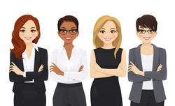 Business woman team set with arms crossed isolated vector illustration