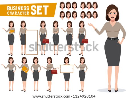 Business woman vector character set with professional young female office or sales employee in gestures and poses for presentations. Vector illustration.