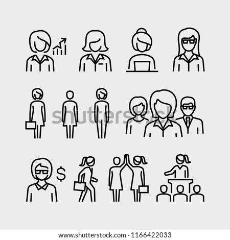 Business Woman Vector Line Icons