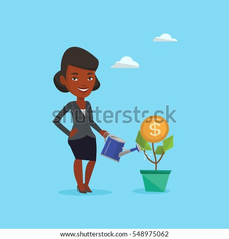 business woman watering money