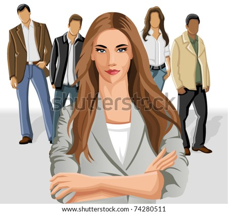 Business woman wearing gray suit with office people on the background