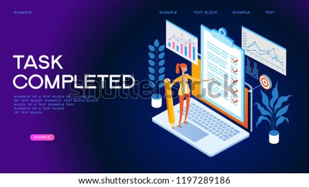Business woman with a giant pencil nearby marked checklist on a clipboard paper. Successful completion of business tasks. Page template. 3d isometric illustration
