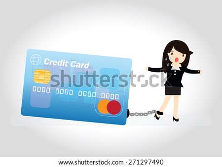 business woman with debt bills