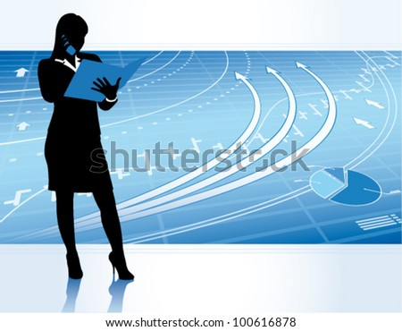 Business woman with financial charts.