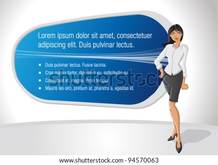 Business woman with presentation screen