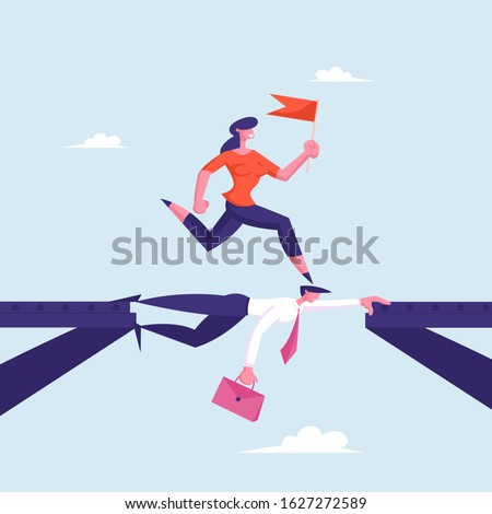 business woman with red flag in
