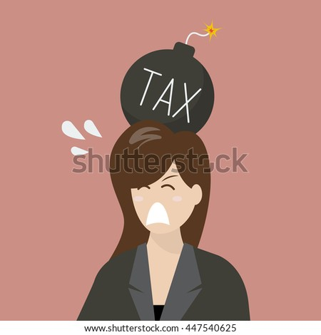 business woman with tax bomb on