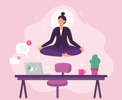 Business woman worker meditation. Vector illustration. Business female worker yoga, lotus meditation manager in cabinet, boss relax