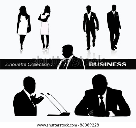 Business women and men Political speaker silhouettes  .Vector illustration