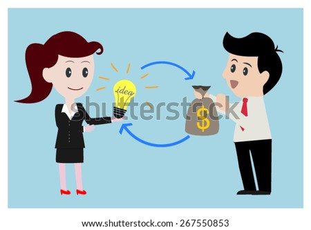 Business women exchange  money to idea with  businessman.