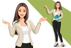Business women in presentation vector illustration