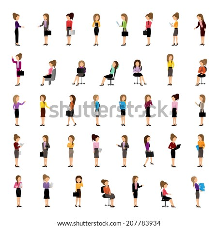 Business Women - Isolated On White Background - Vector Illustration, Graphic Design Editable For Your Design
