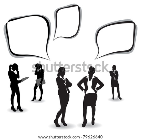 business women with speech bubbles
