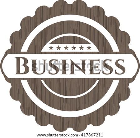 Business wooden emblem. Retro