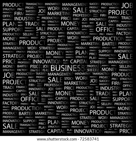 BUSINESS. Word collage on black background. Vector illustration. Illustration with different association terms.